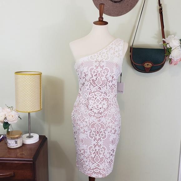 d7511204385 Calvin Klein Wedding One Shoulder Lace Sheath NWT